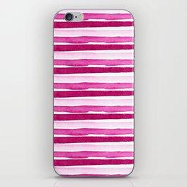 Pink Watercolour Seaside Stripes iPhone Skin