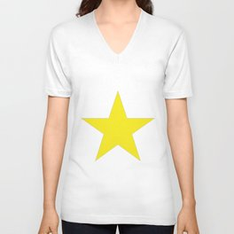 Yellow star on white Unisex V-Neck