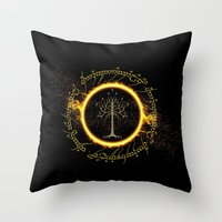 lord of the ring Throw Pillows featuring Lord Of The Ring Circle by Electra