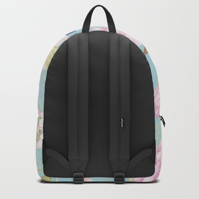 Pastel Teal Vintage Roses and Hummingbird Pattern Backpack