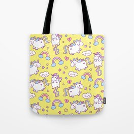 Seamless unicorn pattern with clouds, hearts, and rainbow on yellow background Tote Bag