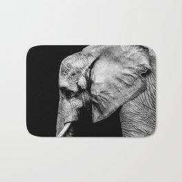 Elephant Portrait BW Bath Mat
