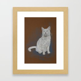 Happy white Cat. Framed Art Print