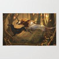 unicorns Area & Throw Rugs featuring Unicorns by ErikaStudio