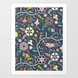 BOHO Chintz (Periwinkle grey) Art Print