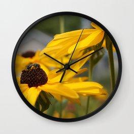 Bee on a Sunflower Wall Clock