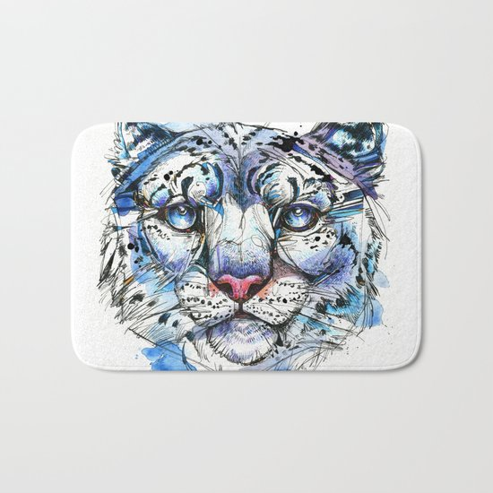 Icy Snow Leopard Bath Mat
