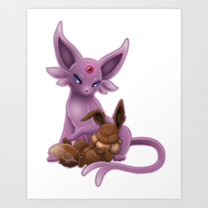 espeon and eevee pup art print by christineridgway society6