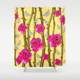 WHITE BUTTERFLIES & CERISE PINK ROSE THORN CANES YELLOW Shower Curtain