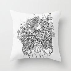 Skull Flower Throw Pillow