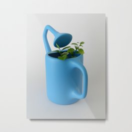 The Uncomfortable Watering can and plant Metal Print