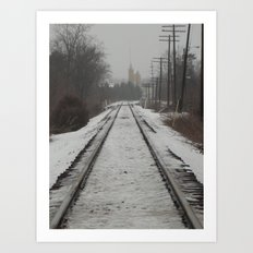 Winter Tracks Into Town Art Print