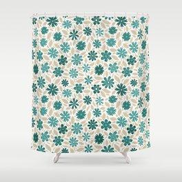 Blue flowers & beige leaves pattern Shower Curtain