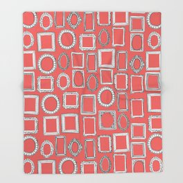 picture frames coral Throw Blanket