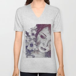 Cleopatra's Sling: Red & Blue | flower tattoo lady portrait drawing Unisex V-Neck