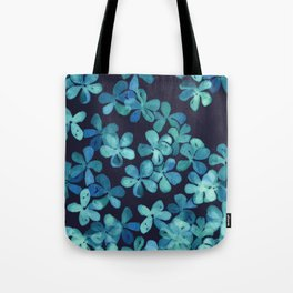 Hand Painted Floral Pattern in Teal & Navy Blue Tote Bag