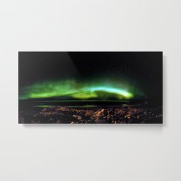 Northern Lights and the Rocky Shore Metal Print
