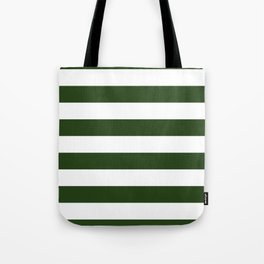 Large Dark Forest Green and White Cabana Tent Stripes Tote Bag