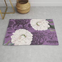 White Peony Purple Collage Rug