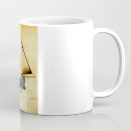 English style old sailboat sailing against to wind  and yellow grunge background Coffee Mug