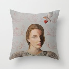 woman with Roman armor, timeless Throw Pillow
