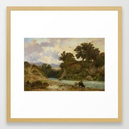 KNEBEL, FRANZ 1809 La Sarraz - 1877 Rome River Course in the Roman Campagna. Framed Art Print