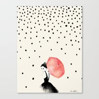 karen hallion Canvas Prints featuring Polka Rain by Karen Hofstetter