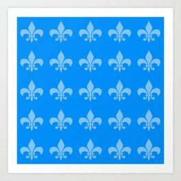 Fleur de lis blue mono chroma Art Print