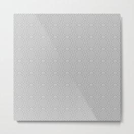 Silver Gray Quatrefoil Pattern Metal Print