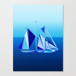 Modern Geometric Sailboat / Yacht, Cobalt Blue Canvas Print