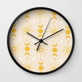 Yellow Sun & Moon Pattern Wall Clock