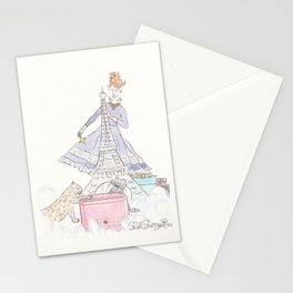 Christmas Fashionable Eiffel Tower with Leopard and Kitty Stationery Cards
