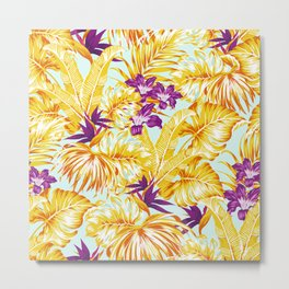Gold Tropical Leaves Floral Pattern Multicoloured Bohemian Décor Metal Print