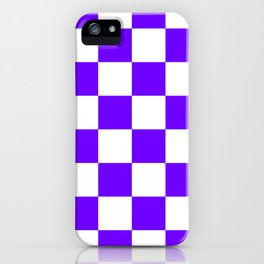Large Checkered - White and Indigo Violet iPhone Case