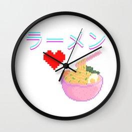 Ramen - LLlamen - らーめん - ラーメン Wall Clock