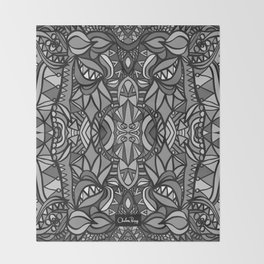 Roller Coaster Black and White Throw Blanket