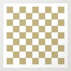 Checker (Sand/White) Art Print