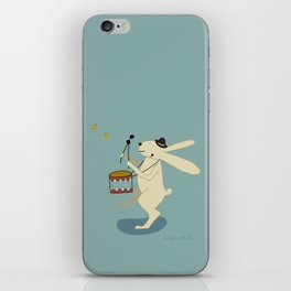Rabbit on drums iPhone Skin