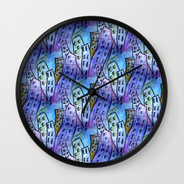 blue city patterm Wall Clock