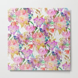 Elegant watercolor floral and dotted brush strokes Metal Print