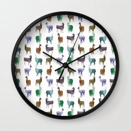 Color Llamas Pattern Wall Clock