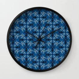 Shaker Lattice: Blue Gray Black Wall Clock