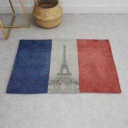 Flag of France with Eiffel Tower Rug
