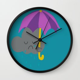 Sad rain cloud Wall Clock