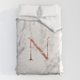 Monogram rose gold marble N Comforters