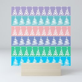 A selection of cute simple Christmas trees for holiday decoration on a color background Mini Art Print