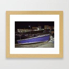 Blue Boat at Night Framed Art Print