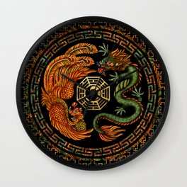 Phoenix and Dragon with bagua #2 Wall Clock