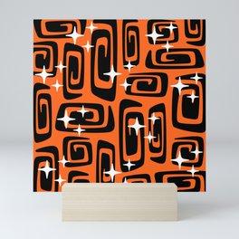 Mid Century Modern Cosmic Galaxies 435 Black and Orange Mini Art Print
