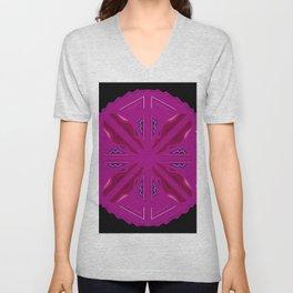 Luxury folk circle pink on black Vintage Unisex V-Neck